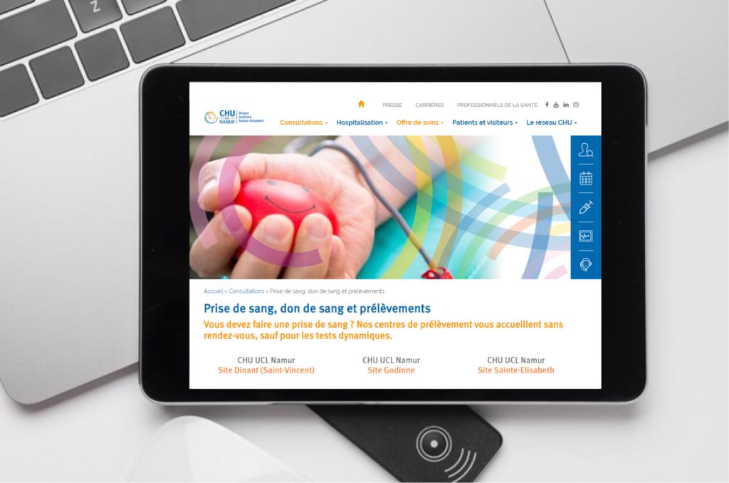 Aperçu du site CHU UCL Namur sur tablette